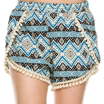 Trendy Solid & Mix Print Shorts W/ Pom Pom Trim