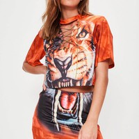 Missguided - Red Lion Jersey Mini Skirt