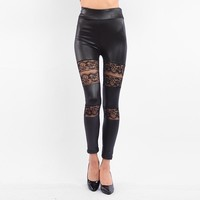 Faux Leather Lace Leggings Streetwear Black High Waist Leggings Calzas Mujer Hollow Out Sexy Women Leggings Leggins Push Up