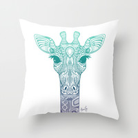 Maharani Giraffe Ombre Throw Pillow by Erin Try