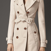 Gabardine Trench Coat with Python Sleeves