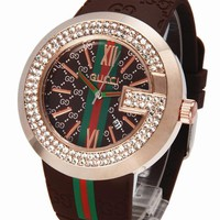 GUCCI Woman Men Fashion Rhinestone Quartz Watches Wrist Watch
