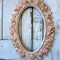 Rose picture frame wall hanging large distressed oval painted pink, cream white w/ gold shabby cottage chic ornate decor anita spero design
