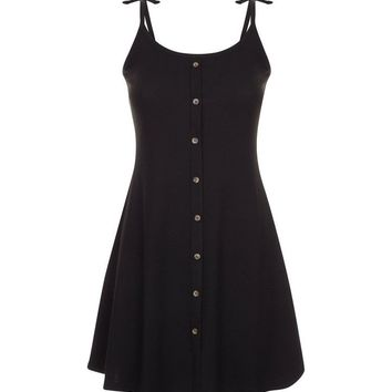 Petite Black Button Front Tie Strap Skater Dress | New Look