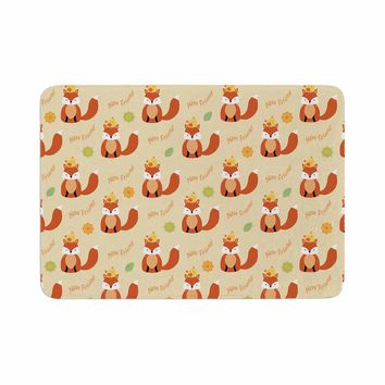"Cristina Bianco Design ""Fox - New Friends - Pattern"" Orange Yellow Illustration Memory Foam Bath Mat"