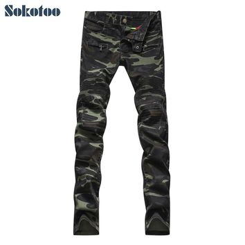 Sokotoo Men's fashion camouflage military style army green biker jeans Male casual patchwork skinny denim pants Long trousers