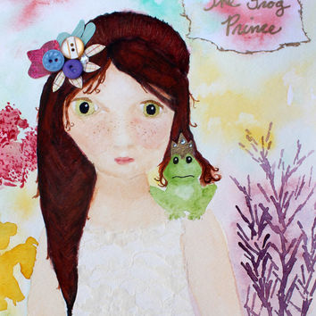 Princess Decor, Fairy Tale, Frog Art, Whimsical Girls Art, Pastel, Nursery Decor, Princess and Frog Print, 8x10, Frog Princess Art