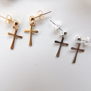 Small Cross Earrings You Choose Finish, Cross Dangle Earrings, Trending Earring, Small Cross Charms, Religious Earrings, Gift Idea. 1201