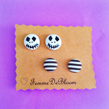Handmade Jack Skellington Inspired Earring Set with Black and White Striped Fabric Button Earrings - Nightmare before christmas inspired