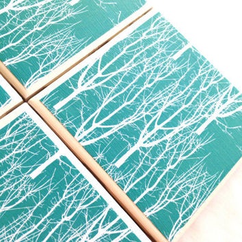 White Tree Coasters, Teal Blue Nature Print, Turquoise Ceramic Drink Tile