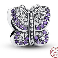 Purple Butterfly Authentic S925 Sterling Silver Charms With Crystal Fit Bracelet Jewelry