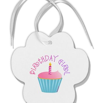 Birthday Girl - Candle Cupcake Paw Print Shaped Ornament by TooLoud