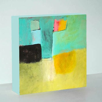 Modern Art Abstract Acrylic Print on Wood – Original Turquoise, Yellow and Black Small Painting in 6x6, 8x8 or 10x10