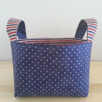 Small Fabric Storage Bin Basket - Patriotic Blue Dot and Stripe