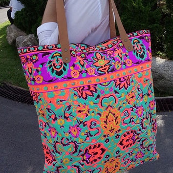 Backpack Paint bag, Neon Printed, Vivid Tote bag, Canvas, Tribal, Hobo, Hipie bag, Weekender bag, Beach bag, Boho Bag Beach Tote Tote Bag