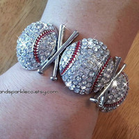 Rhinestone Bling Baseball Sports Stretch Bracelet with Crossed Bats