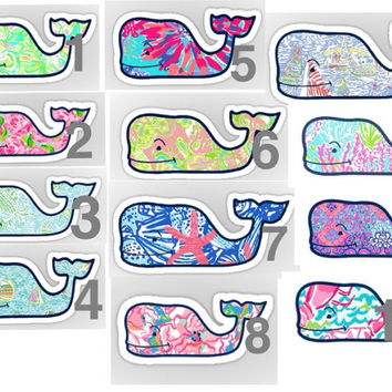 Lilly Pulitzer whale stickers