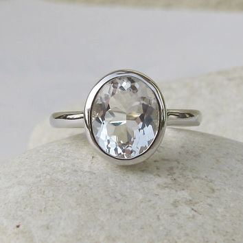 Oval White Topaz Ring- Promise Ring- Engagement Ring- Wedding Ring- Gemstone Ring- Bezel Ring- Bridal Ring- Sterling Silver Ring- Ring