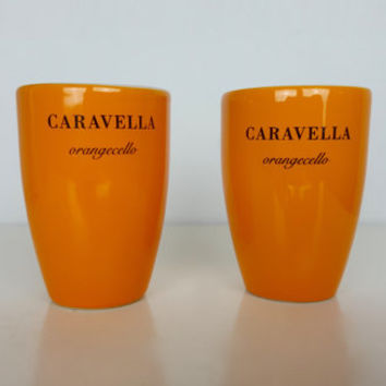 Vintage Set of 2 Shot Glasses Caravella Orangecello, Bright Orange Ceramic Shot Glasses, Vintage Orange Barware, Orange Drinkware, Italian