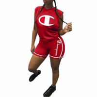 Champion women's personalized print casual sports two-piece F0615-1 red