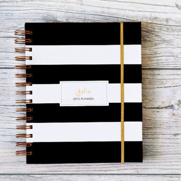 2016 personalized planner stripes custom 2016-2017 planner agenda student calendar bridesmaid gift wedding planner hard cover