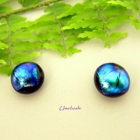 Sky Bits Tiny Round Handmade Dichroic Glass Earrings - Metallic Blues