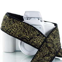 Gold Paisley dSLR Camera Strap, Neck Strap, Canon camera strap, Nikon Camera strap,  Mirrorless, Sony,  Metallic Gold and Black, SLR, 114