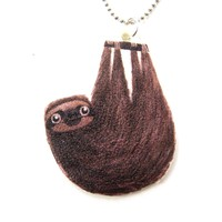 Sloth Shaped Animal Watercolor Pendant Necklace | Handmade Shrink Plastic