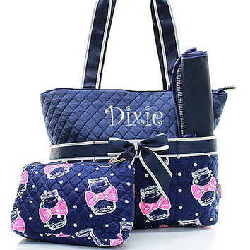 Monogrammed Mason Jar Diaper Bag Personalized Diape
