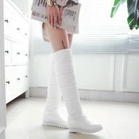 Women Warm Down Round Toe Knee High Boots Platform Shoes 8931