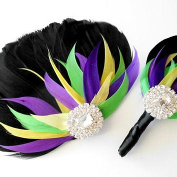 Prom Hair Accessory Boutonierre Set Feather Fascinator, Wedding Hairpiece, Black, Purple, Yellow, Green, Colorful, Vintage Wedding