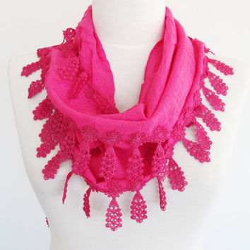 Pink Cotton Fringed Scarf, Headband, Cowl, Gift
