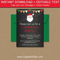 Printable Santa Invitation - Christmas Chalkboard Invitation - Christmas Party Invitation Template - Holiday Party EDITABLE Santa Invite C2