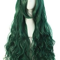 "MapofBeauty 32"" 80cm Long Hair Spiral Curly Cosplay Costume Wig (Forest Green)"