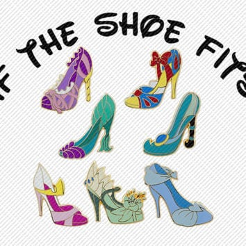 Disney Princesses High Heel Shoes If the Shoe Fits Printable Digital Iron On Transfer Clip Art DIY Tshirts Instant Download