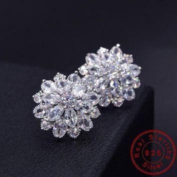Female Snowflake Stud Earring 100% Real 925 Sterling Silver Jewelry High Quality AAA Zircon Double Earrings For Women