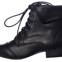 Stand Up for Style Fold Over Lace Up Granny Boots - Black from Breckelles at Lucky 21