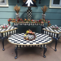 Whimsical French Country Black and White Check Hand Painted Coffee Table One of a Kind