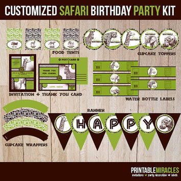 Safari birthday package / Kids printable zoo birthday kit / Safari party printable package / Boys jungle theme party decoration / DIY safari