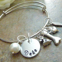 Pet memorial jewelry Dog memorial bracelet Personalized Pet Memorial Bracelet Bone Expandable Hand stamped Jewelry