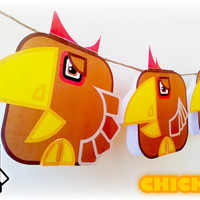 Printable paper toy craft activity. Instant download. Flat Ed Farm Chicken! Make you own cards, banners and chicken bunting!