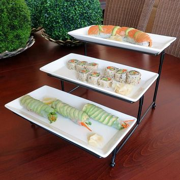 Evelots 3 Tier Large Serving Tray,Stand-Dessert,Appetizer-Porcelain-Iron