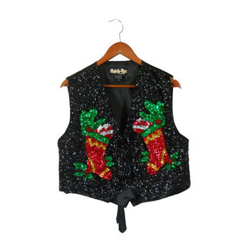 Ugly Christmas Sweater Party Tacky Christmas Sweater Holiday Sweater Christmas Vest Sequin Christmas Hipster Sweater Hipster Clothes