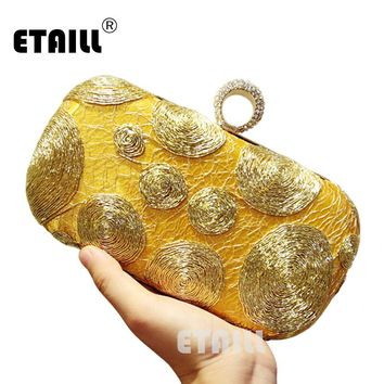 ETAILL Women's New European and American Popular Evening Handbags Golden Hollow Metal Mesh Bag Hand Shoulder Bags Day Clutches