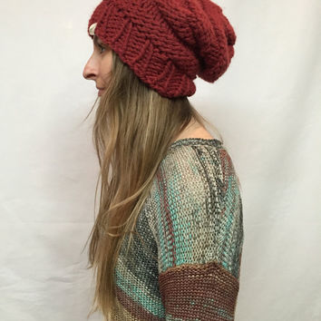 Knit Slouchy Hat Beanie Beehive Dark Red Burgundy Redwood Warm And Cozy