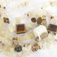Neutral tone browns three strand handbeaded necklace with copper closu | Metal_Artistry - Jewelry on ArtFire