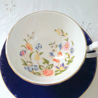 Vintage Aynsley Cobalt Blue Tea Cup and Saucer Made in England Elegant Tea Party Fine Bone China