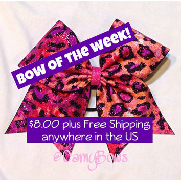 Cheer Bow Cheetah Sparkle Pink and Black
