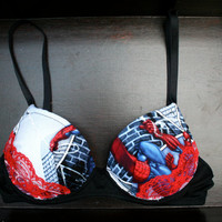 THE AMAZING SPIDERBRA: Black Bra with Spiderman Comics Fabric and Red Lace