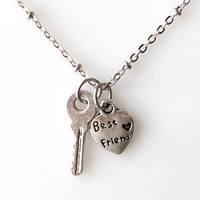 best friend necklace, small key necklace heart jewelry, gift for best friends, best friend jewelry, bff necklace, antique silver, friendship